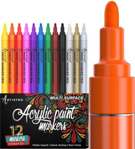 Artistro Acrylic Paint Markers with Medium Tip, including rainbow colors, black, white, silver, and gold