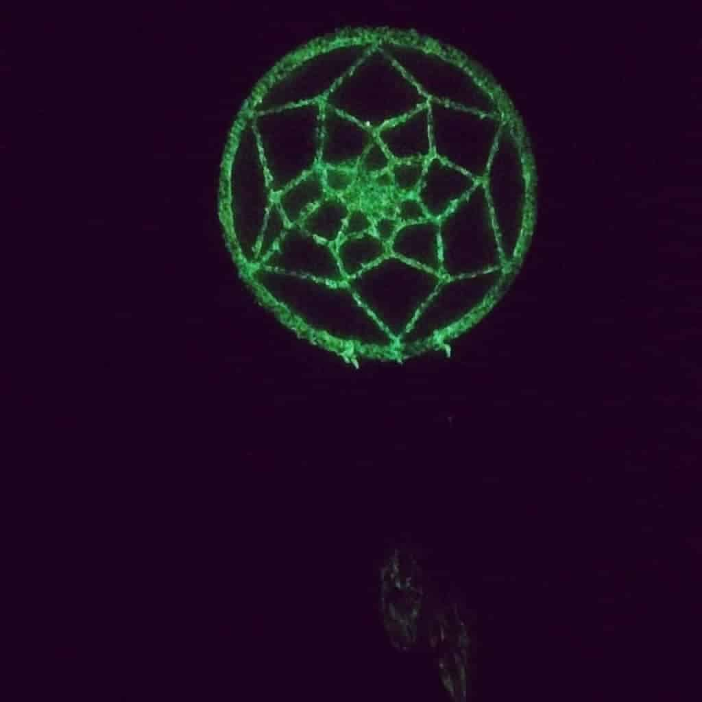 glow in the dark dream catcher, glowing green in the dark