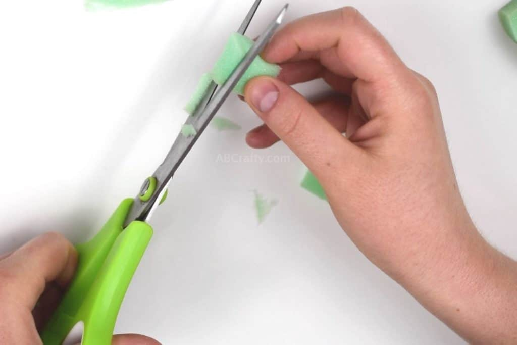 Cutting green foam into a small cube
