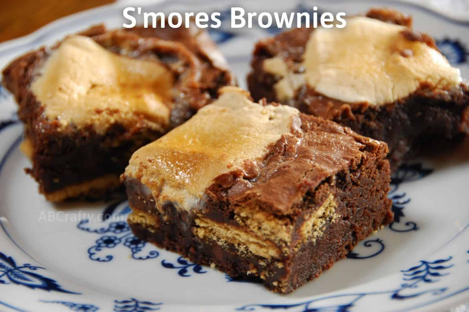 Finished smores brownies on ceramic plate