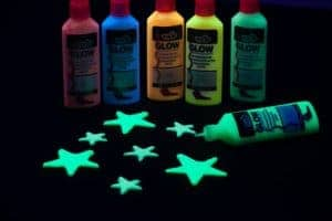 Tulip Glow in the Dark Fabric Paint Glowing in Different Colors