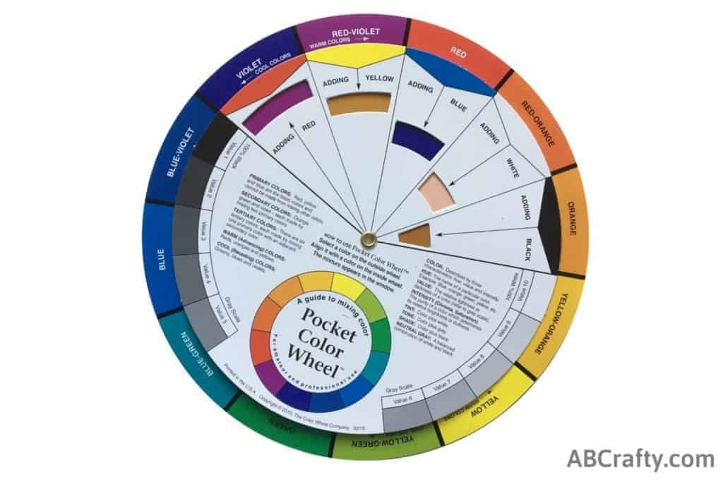 color wheel showing adding yellow to red-violet