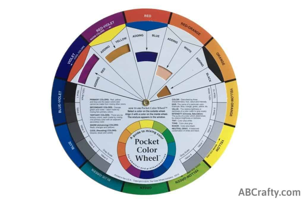 color wheel showing mixing blue and red to make purple
