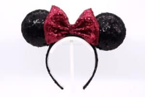 Featured Image - DIY Classic Light Up Minnie Ears. It's a black sequined headband with a red sequined bow, creating the classic Disney Minnie Mouse ears