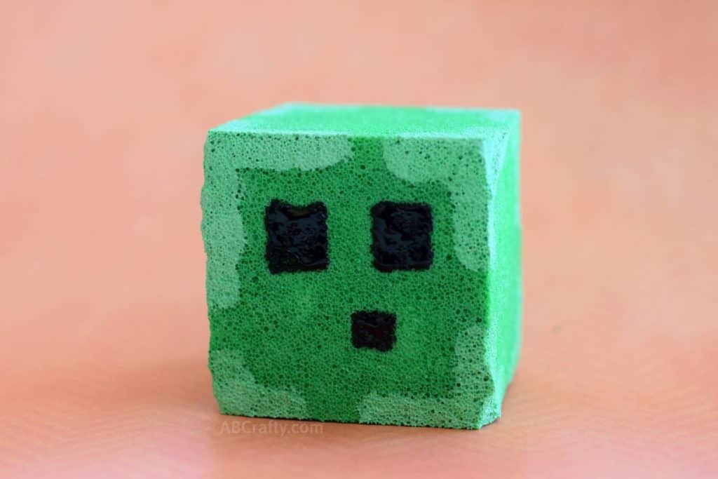 Finished DIY Minecraft Squishy - a Minecraft Slime Block