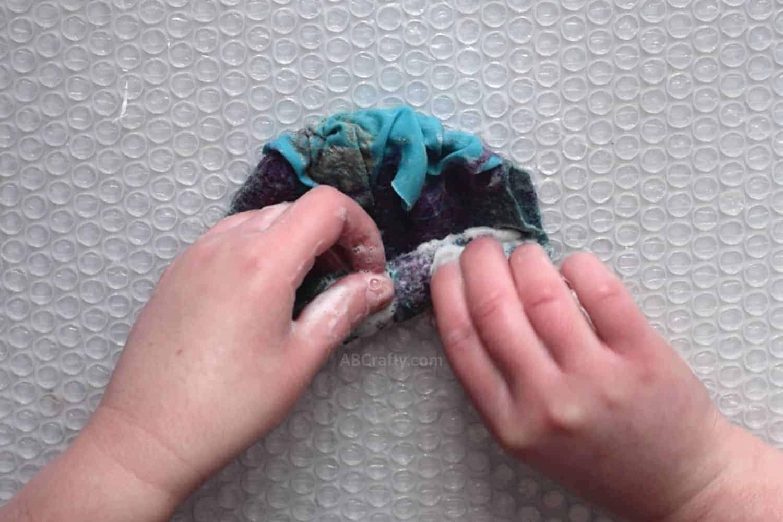 Spot fulling wool felting project