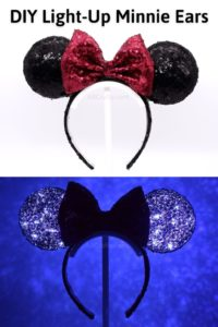 DIY light up minnie mouse ears with the ears in regular light in one image and lit up in the dark in another