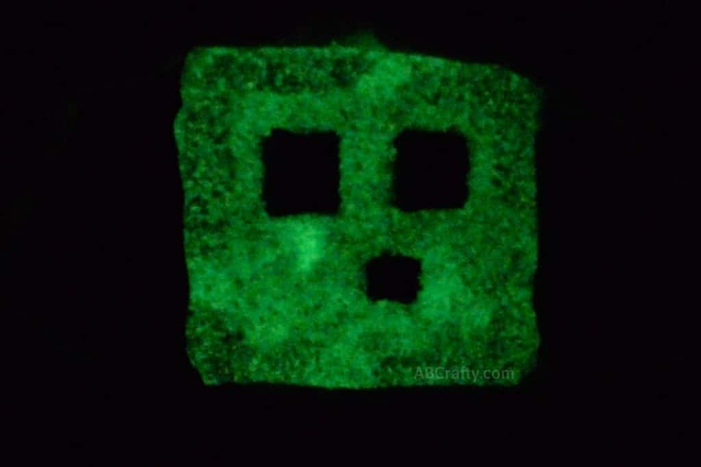DIY Glow in the dark Minecraft squishy glowing in the dark with the eyes and mouth as black