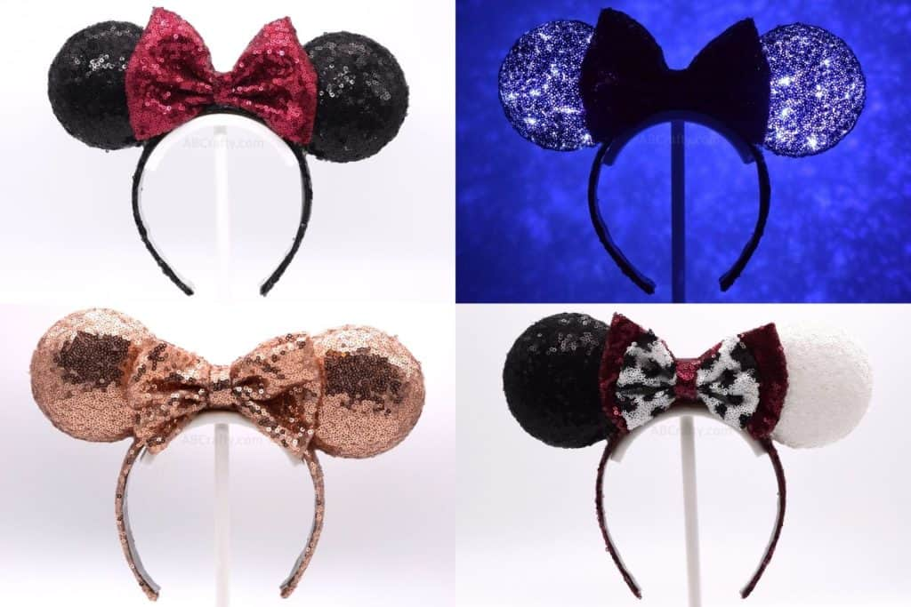 4 DIY Light Up Minnie Minnie Mouse Ears - Classic Minnie Ears Headband, Rose Gold Minnie Ears, and Cruella Deville 101 Dalmatians Disney Mickey Ears