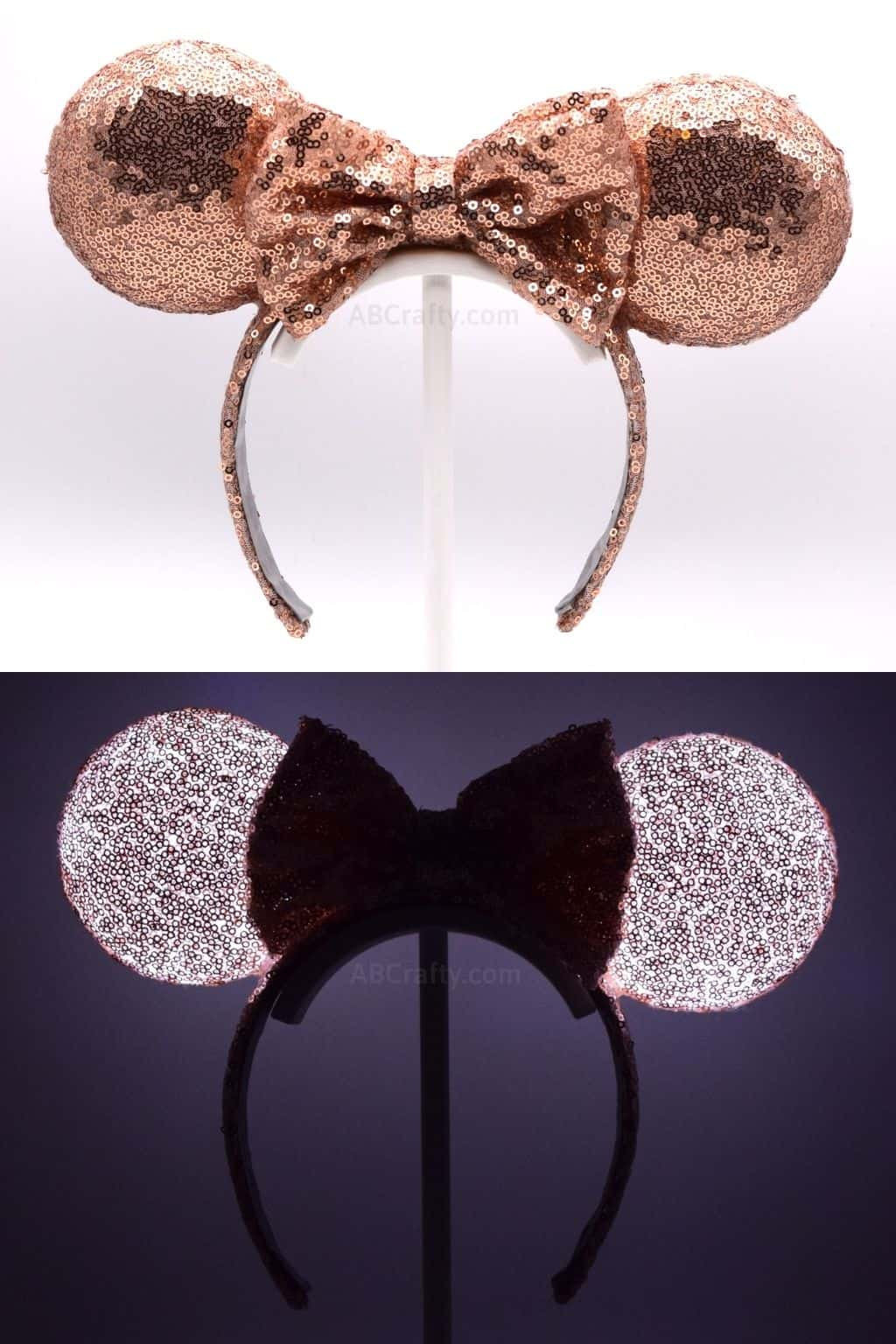 DIY Rose Gold Minnie Ears in the light and lit up in the dark
