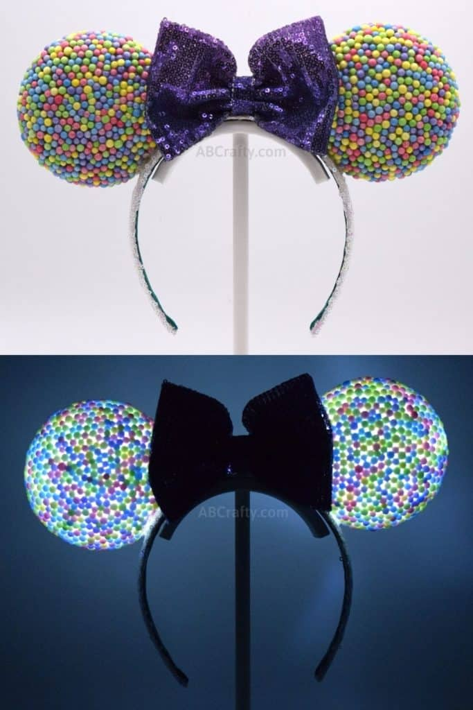 DIY Rainbow Mickey Ears that look like candy or dippin' dots with a purple bow. The second image is the headband lit up in the dark