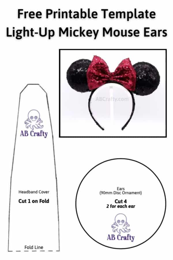 """Mickey Ears Template titled """"Free Printable Template for Light Up Mickey Mouse Ears"""