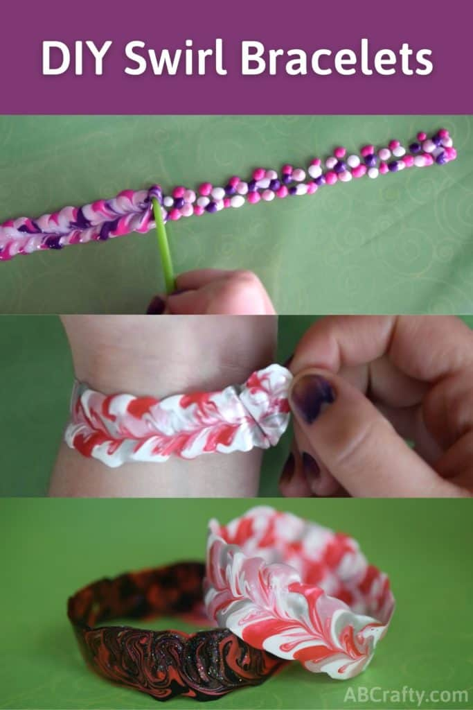"""Process to how to make DIY bracelets with fabric paint, with the title """"DIY Swirl Bracelets"""""""