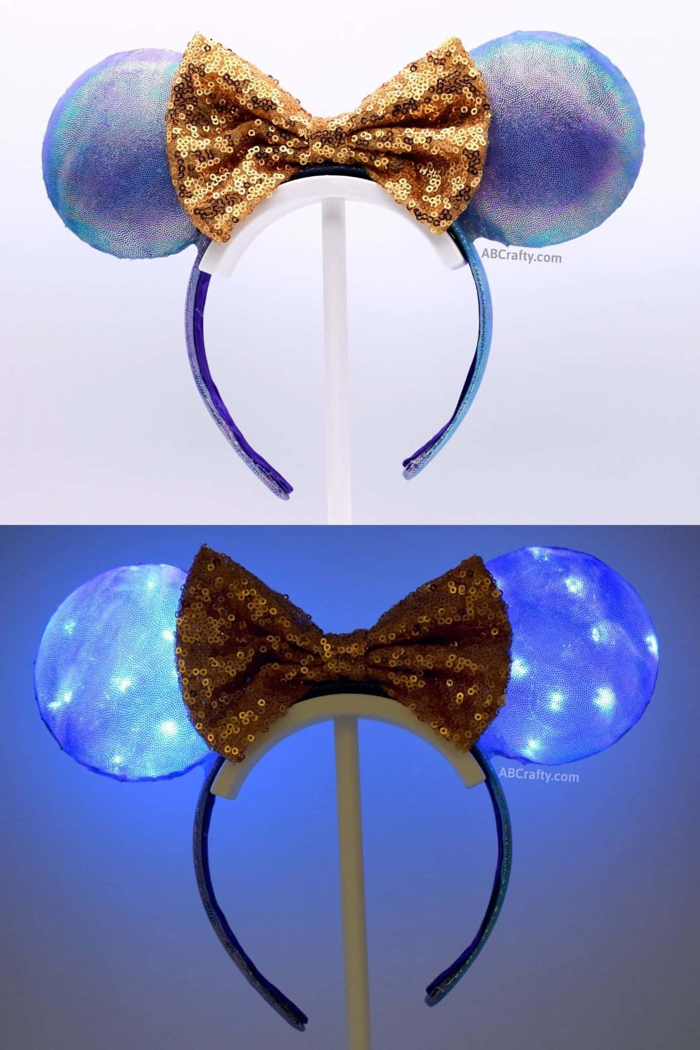 diy purple and blue iridescent mickey mouse ears both in the light and lit up in the disney world 50th anniversary colors