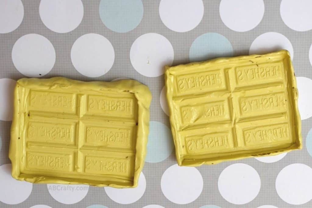 two homemade silicone chocolate bar molds