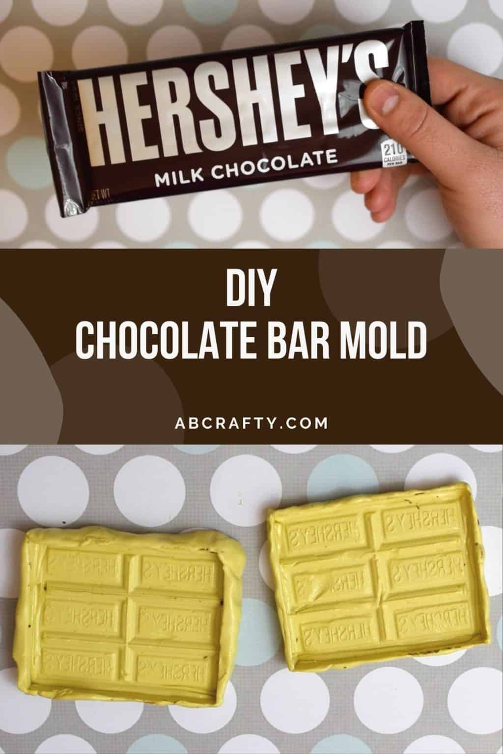 the image on top is a hand holding a hershey's milk chocolate bar and the bottom image is two homemade silicone chocolate bar molds with the title 'diy chocolate bar mold, abcrafty.com'