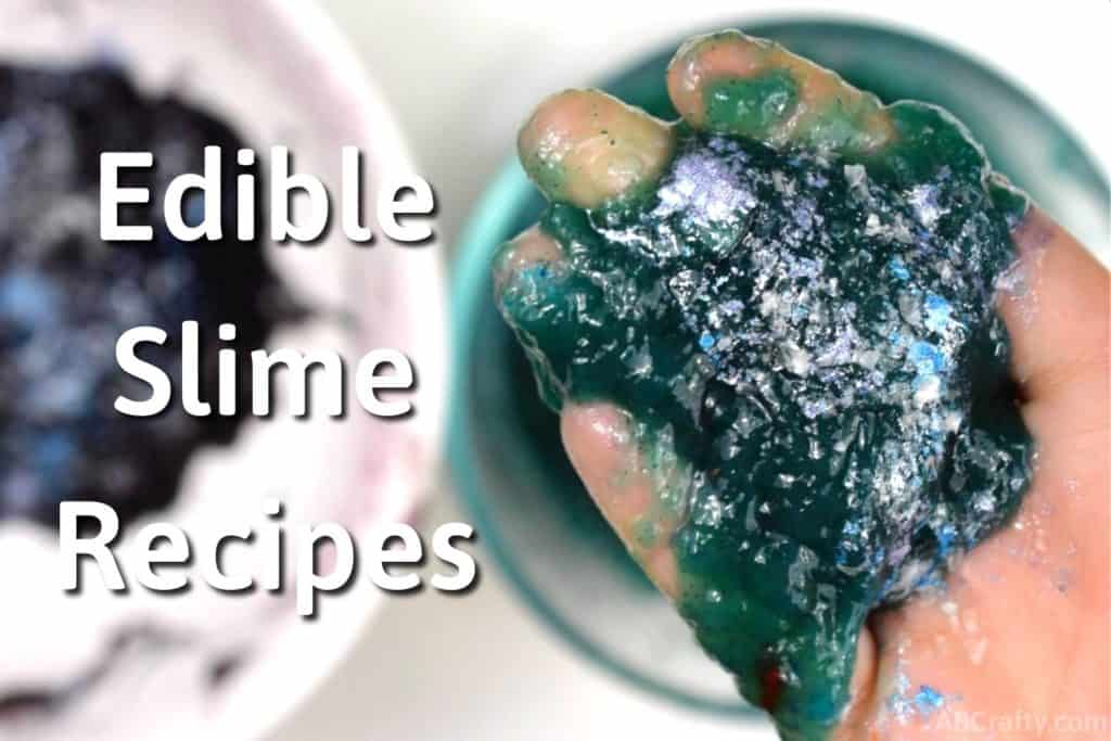 """Holding homemade edible galaxy slime with glitter on top and the words """"edible slime recipes"""" next to it"""