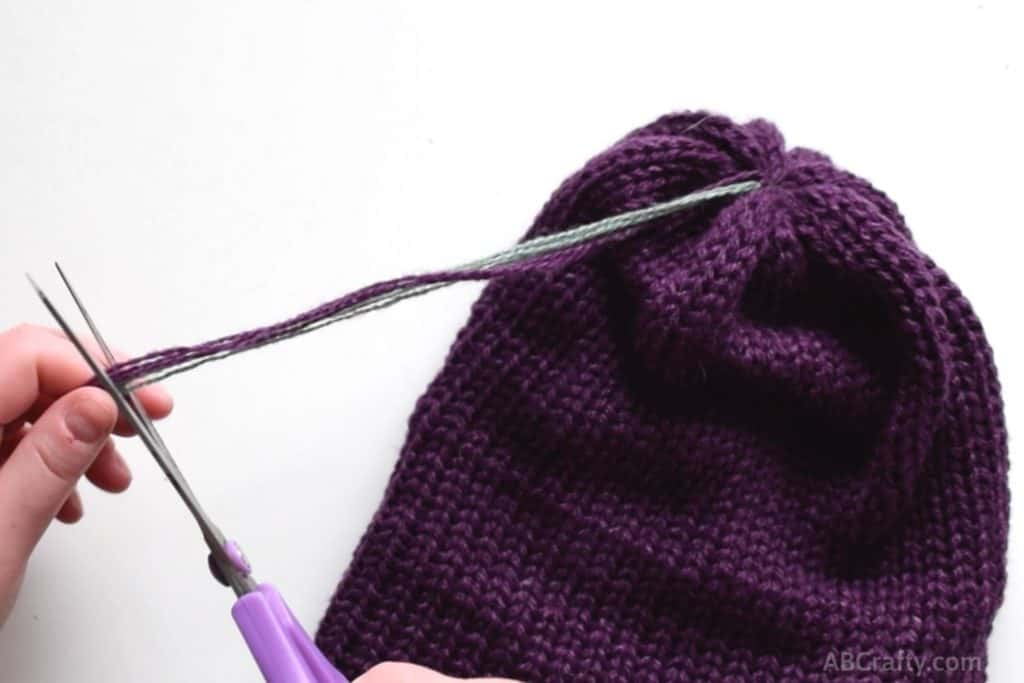 cut the ends of the yarn to make it more manageable