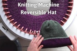 """Holding a green and purple reversible knit beanie over purple yarn knit on a sentro knitting machine with the title """"knitting machine, reversible hat"""""""