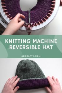 """sentro knitting machine with purple yarn knit on it and a purple and green knit beanie with the title """"knitting machine reversible hat, abcrafty.com"""""""