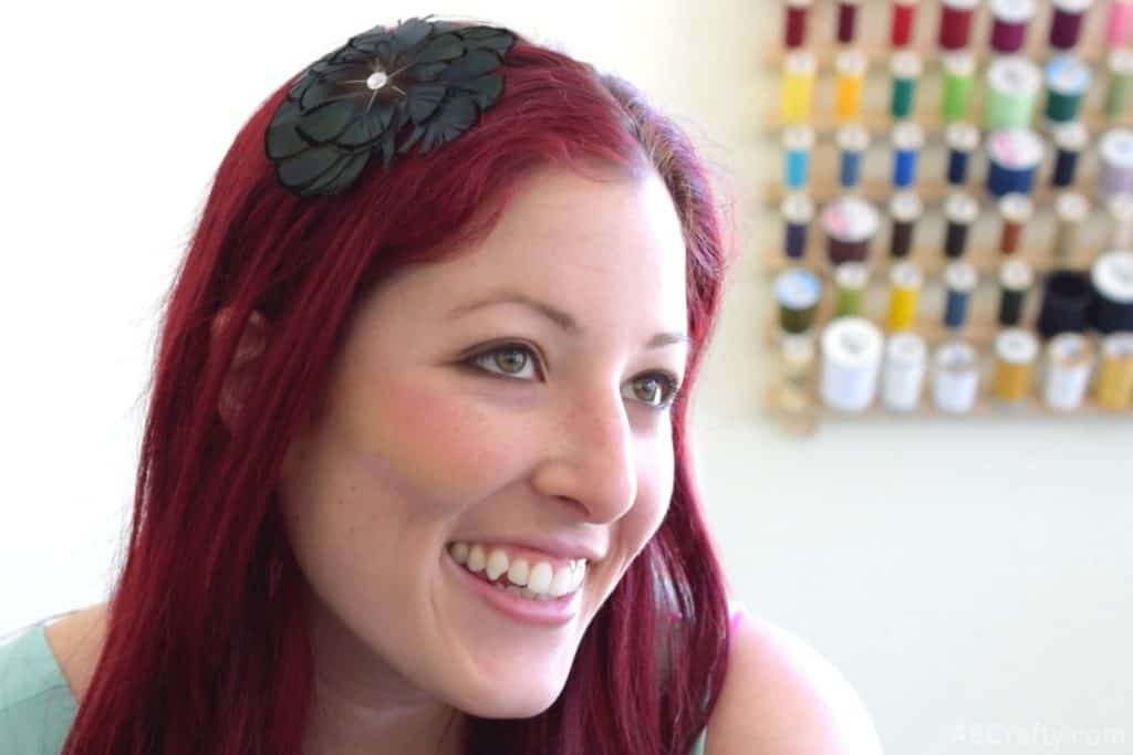 diy rainbow highlighter applied to the cheek of AB Crafty founder, Daniela