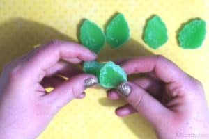 placing a cut green leaf gummy on top of another