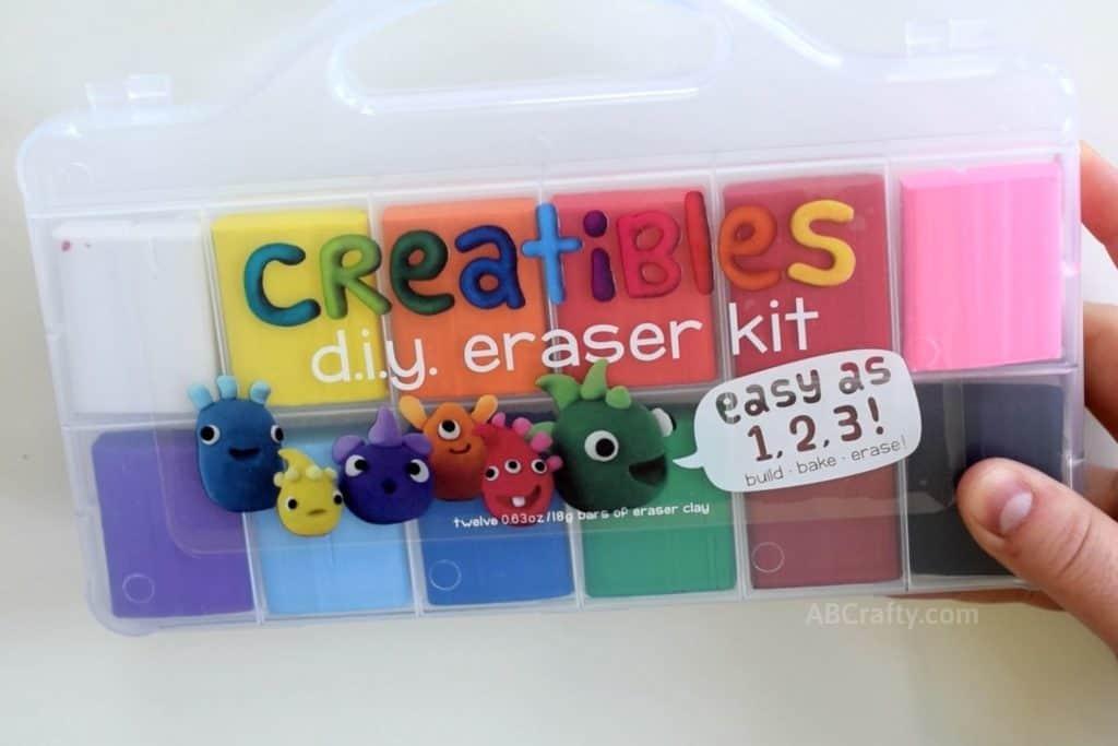 holding a creatibles diy eraser kit