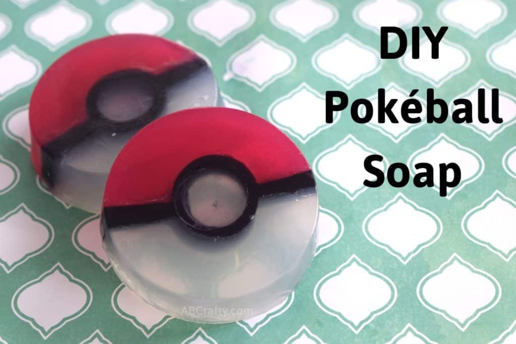 two homemade pokemon soaps in the shape of pokeballs with the title 'diy pokéball soap'