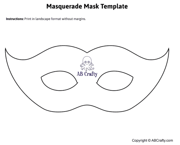 image of a printable masquerade mask template from ab crafty