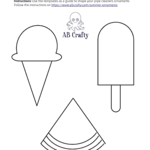 Image of template to make summer borax crystal ornaments in the shapes of an ice cream cone, popsicle, and watermelon slice