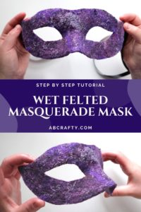 top photo is holding the purple wet felted Venetian mask facing front with the bottom showing the side of the mask