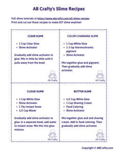 image of slime recipe cards