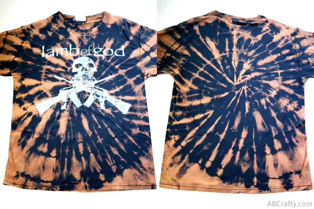 front and back of a reverse tie dye lamb of god t shirt in a spiral tie dye pattern