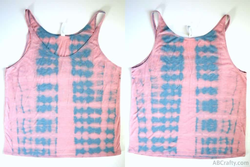 finished front and back of the bleach tie dye tank top that has striped pattern of blue and pink