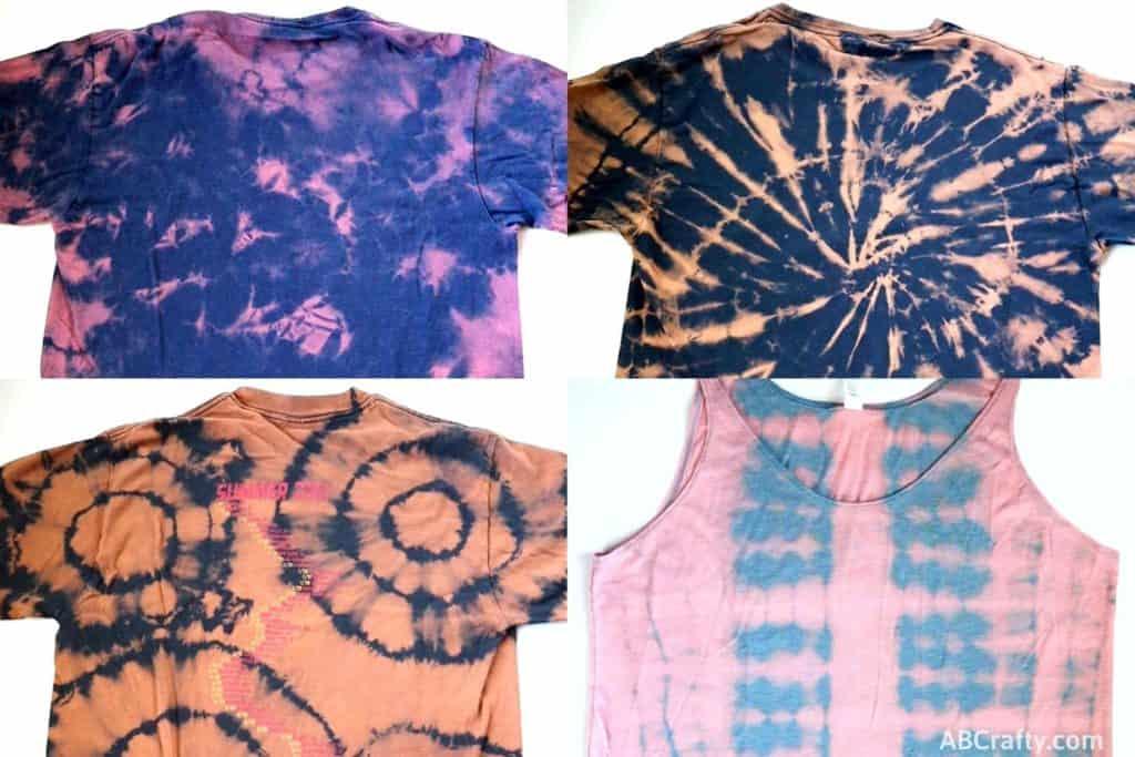 3 bleach tie dye t shirts and 1 bleach tie dye tank top in different reverse tie dye patterns