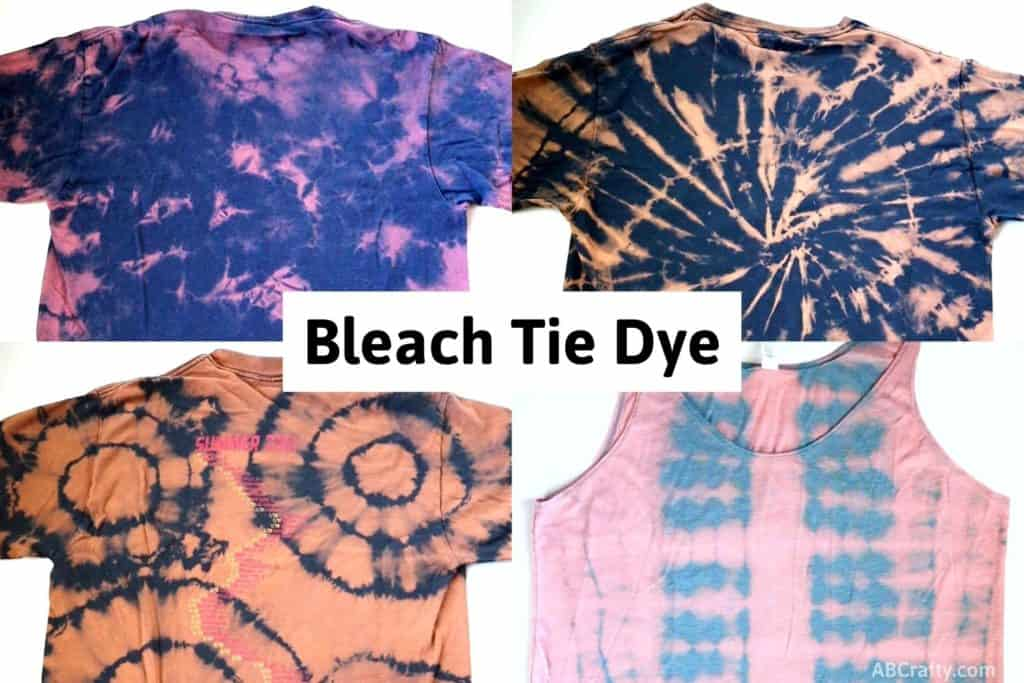 """4 reverse tie dye t shirts with different patterns with the title """"bleach tie dye"""""""