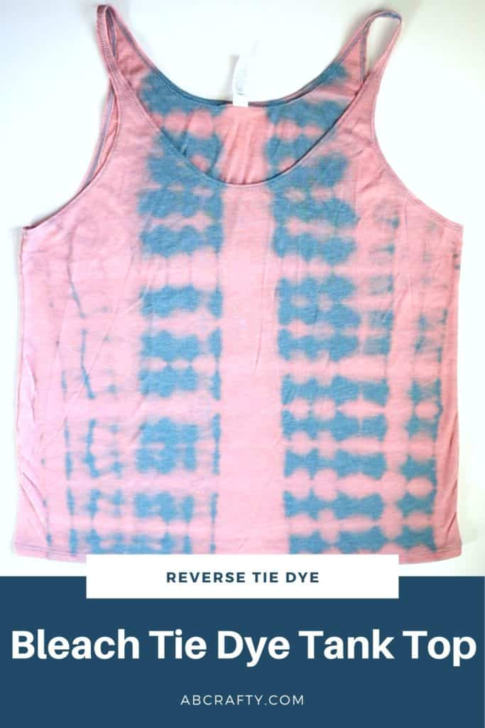 """pink and blue reverse tie dye tank top with the title """"bleach tie dye tank top"""""""