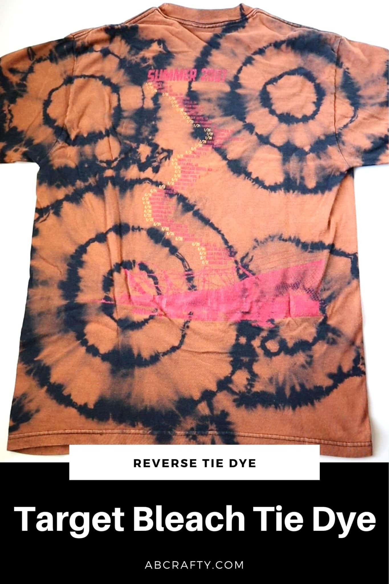 """orange and black reverse tie dye t shirt in a target pattern with the title """"target bleach tie dye"""""""