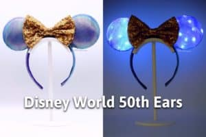 diy purple and blue earidescent mickey mouse ears both in the light and lit up with the title disney world 50th anniversary ears