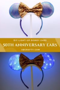 diy purple and blue earidescent mickey mouse ears both in the light and lit up with the title diy light up disney ears - disney world 50th anniversary ears