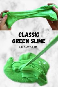 two hands stretching green slime in the top photo and the bottom image shows the slime oozing into a pile