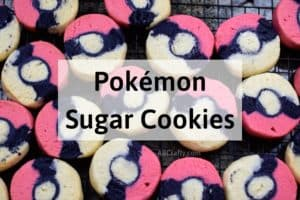 """pokemon cookies on a cooling rack with the title """"pokemon sugar cookies"""""""