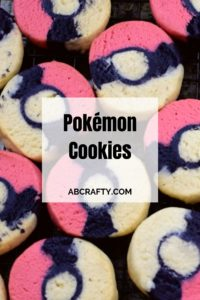 """pokemon sugar cookies in the shape of a pokeball with the titel """"pokemon cookies"""""""
