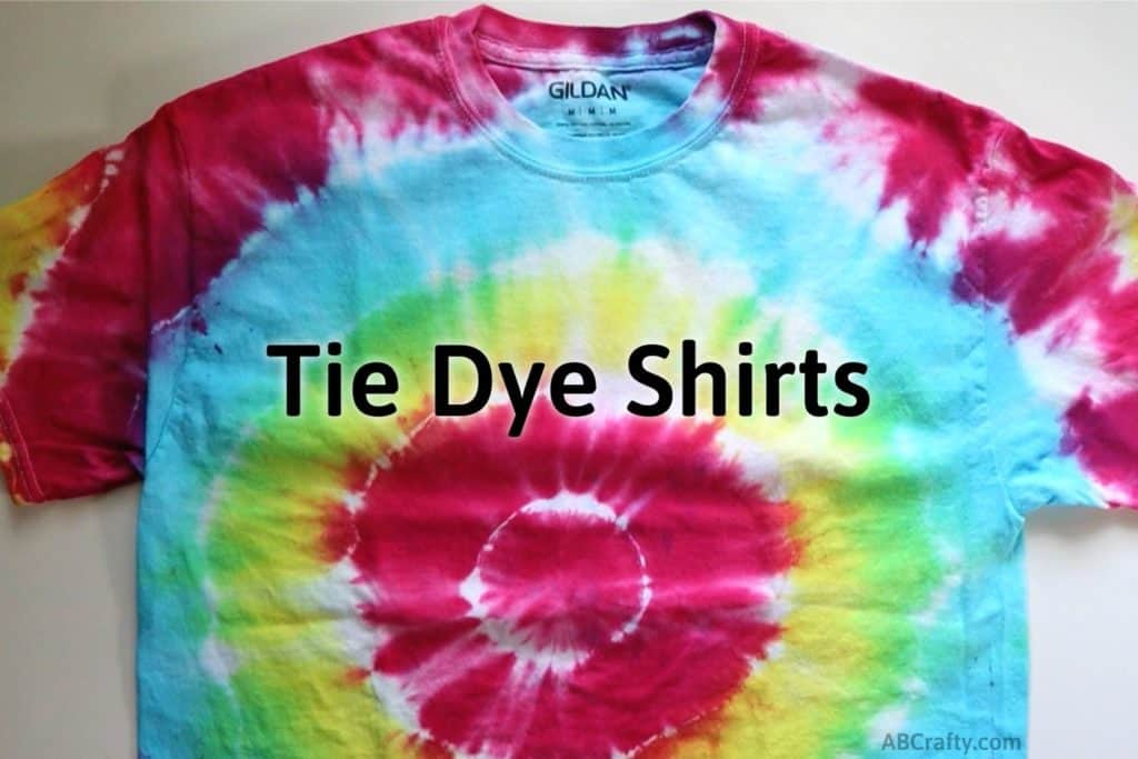 """finished tie dye shirt with a rainbow target tie dye pattern with the title """"tie dye shirts"""""""