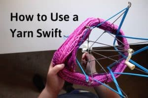 """holding a hank of pink yarn and placing it onto a blue plastic yarn swift with the title """"how to use a yarn swift"""""""