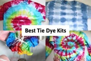 """2 tie dye shirts and a tie dye sweatshirt and rinsing a dyed shirt with the title """"best tie dye kits"""""""