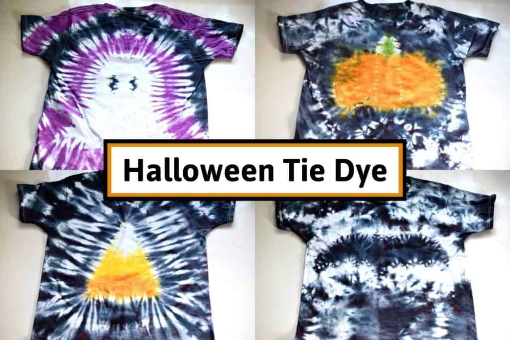 halloween tie dye shirts with different halloween tie dye patterns including a ghost, pumpkin, candy corn, and bat