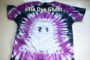 """finished ghost tie dye shirt with purple and black stripes and the title """"tie dye ghost"""""""